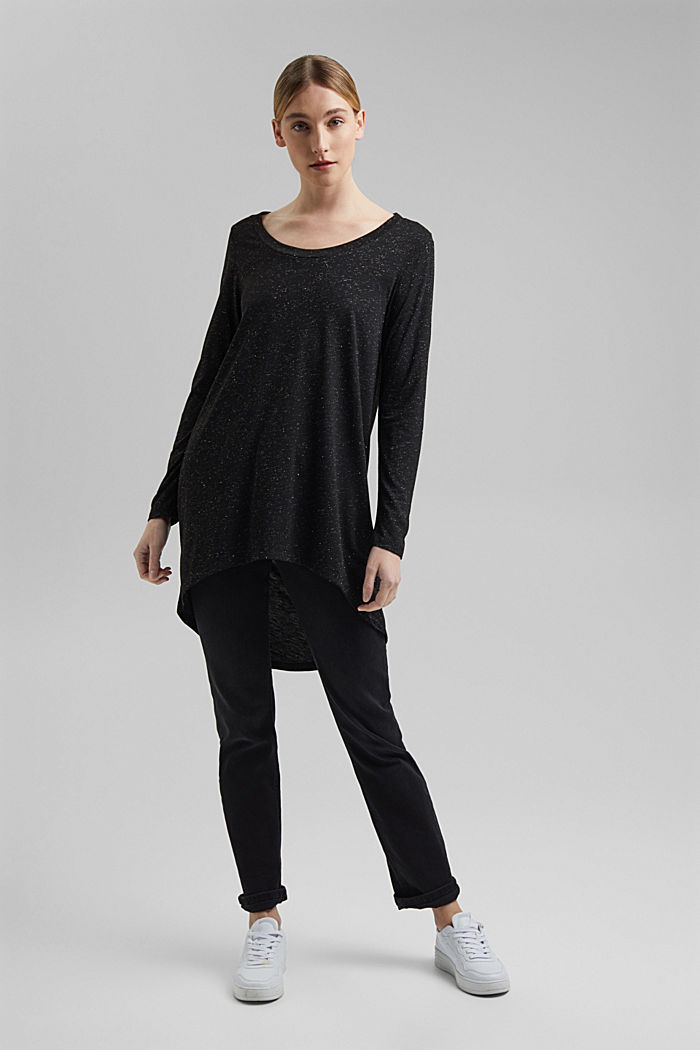 Long, long sleeve top with a glittering finish, GUNMETAL, detail image number 5