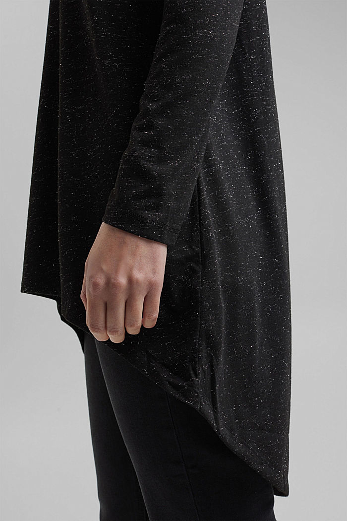 Long, long sleeve top with a glittering finish, GUNMETAL, detail image number 2