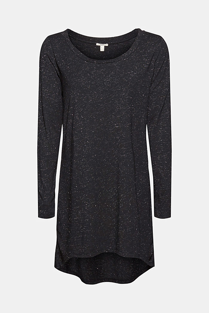 Long, long sleeve top with a glittering finish, GUNMETAL, detail image number 6
