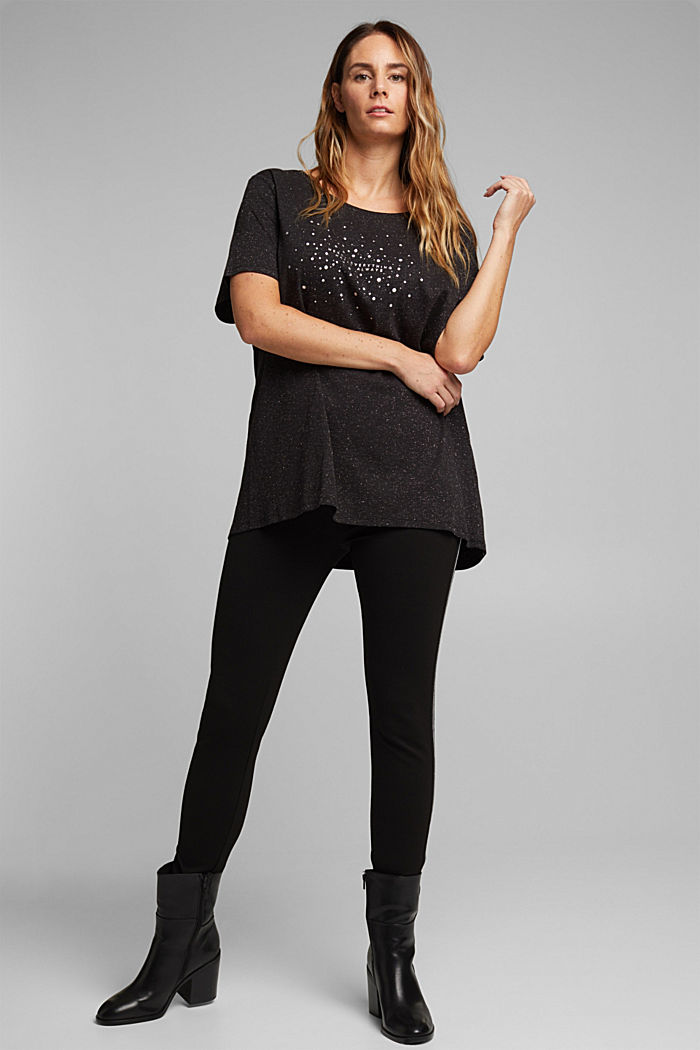 Curvy glittering top made of organic cotton, BLACK, detail image number 1