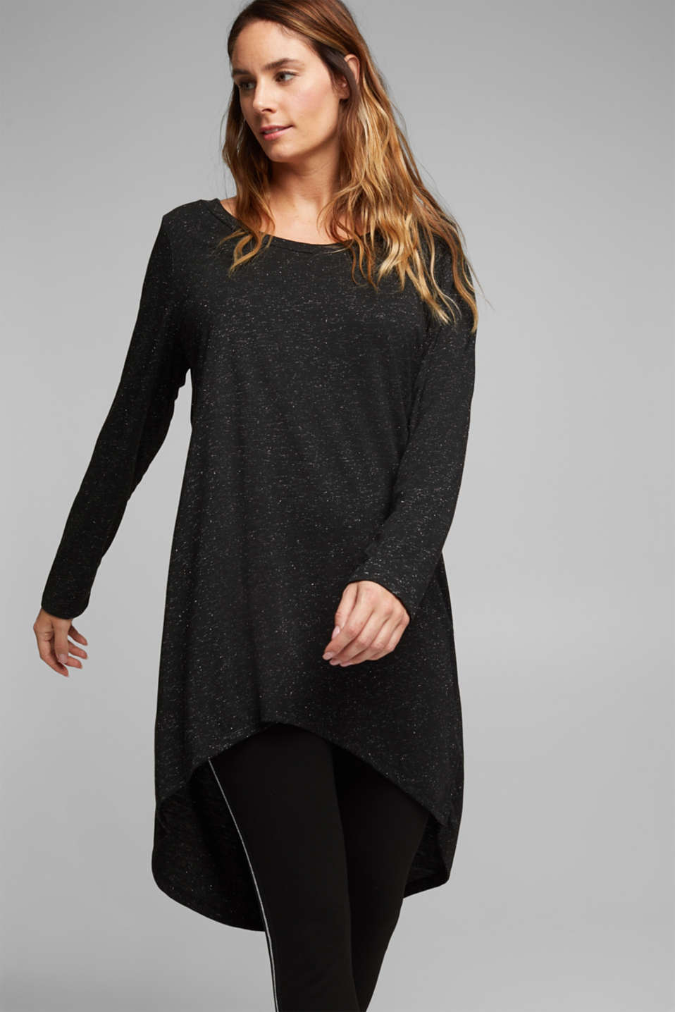Esprit - Long, long sleeve top with a glittering finish