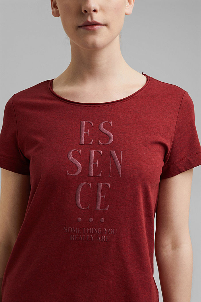 Statement top with organic cotton, BORDEAUX RED, detail image number 2