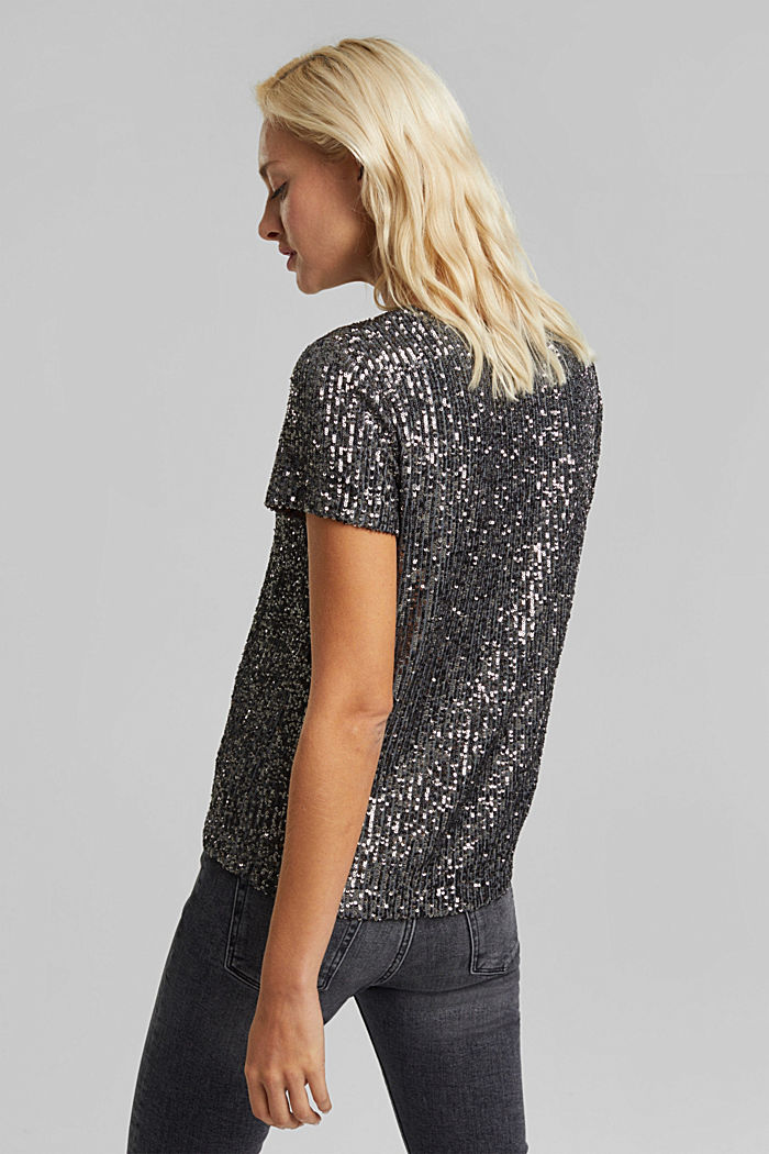 Mesh top with sequins, GUNMETAL, detail image number 3