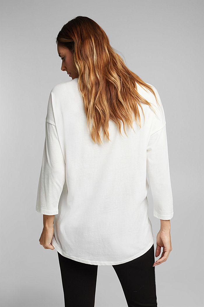 CURVY long sleeve top containing organic cotton, OFF WHITE, detail image number 3