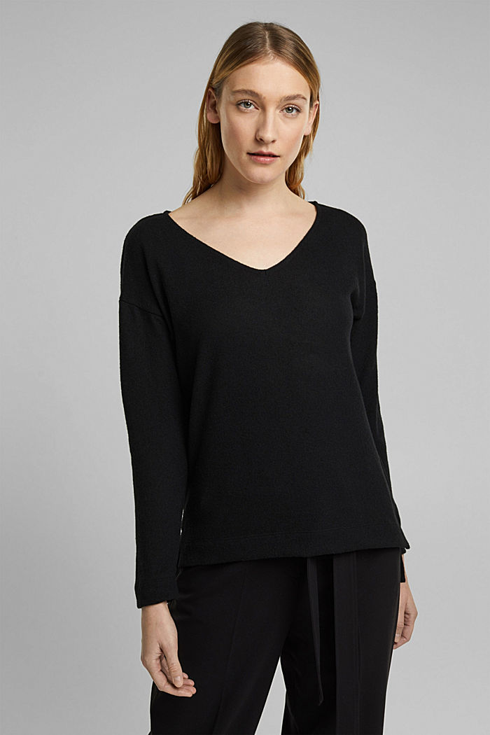 Melange long sleeve top in a knitted look, BLACK, detail image number 0