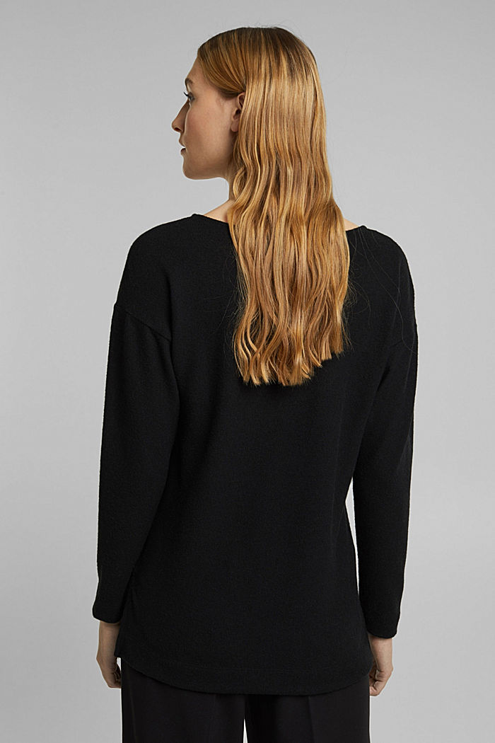 Melange long sleeve top in a knitted look, BLACK, detail image number 3