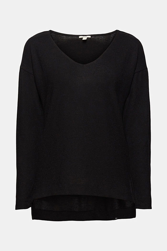 Melange long sleeve top in a knitted look, BLACK, detail image number 6