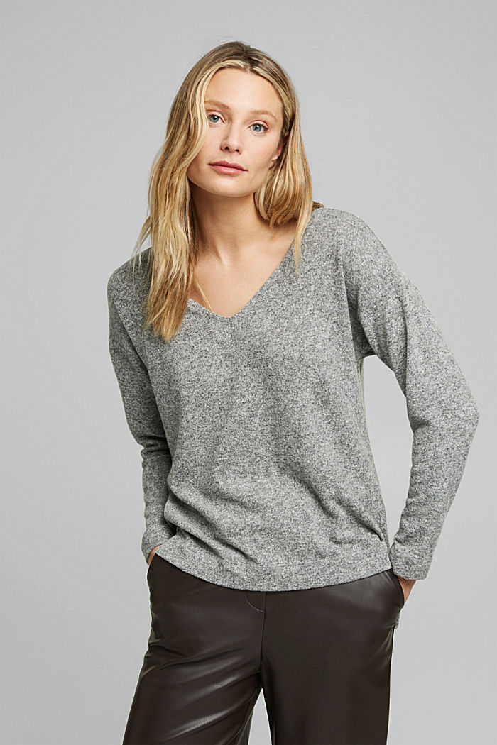 Melange long sleeve top in a knitted look