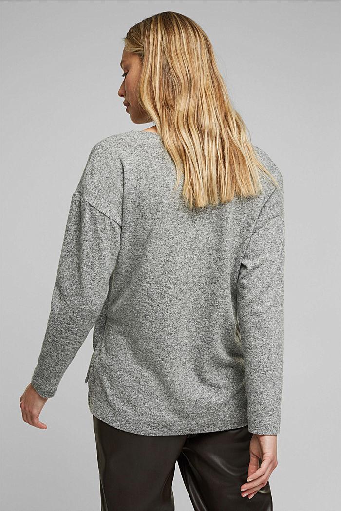Melange long sleeve top in a knitted look, GUNMETAL, detail image number 3