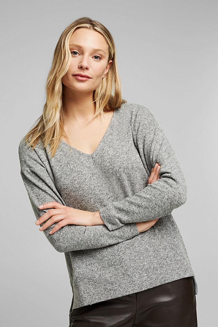 Melange long sleeve top in a knitted look, GUNMETAL, detail image number 6