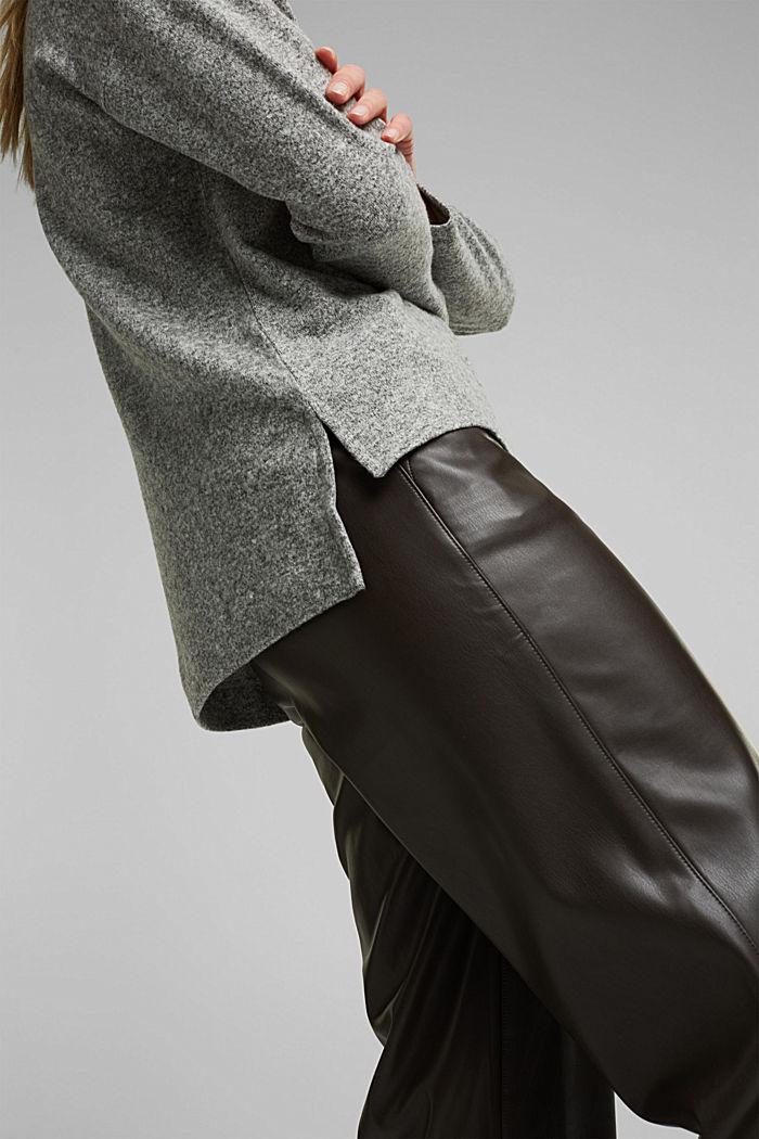 Melange long sleeve top in a knitted look, GUNMETAL, detail image number 2