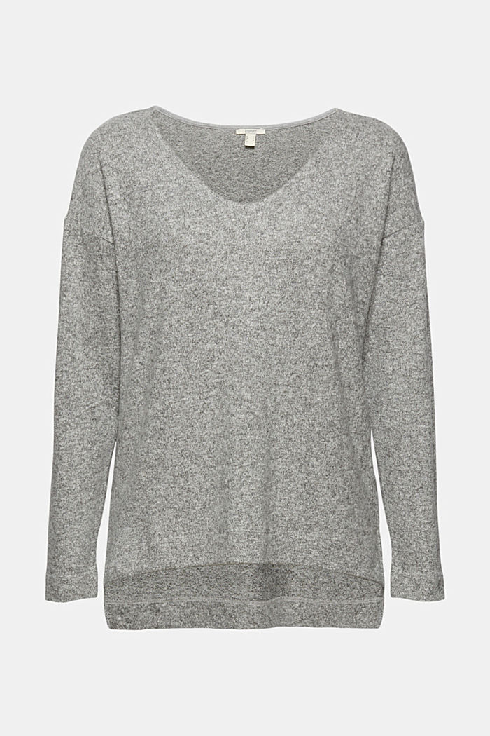 Melange long sleeve top in a knitted look