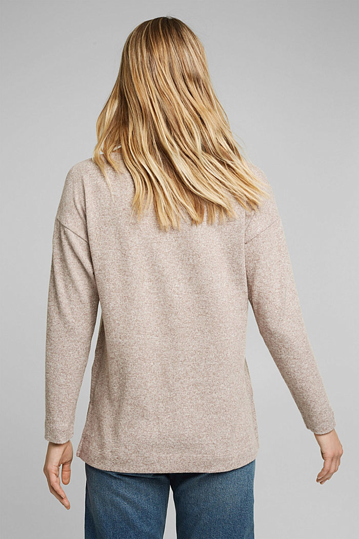 Melange long sleeve top in a knitted look, TOFFEE, detail image number 3
