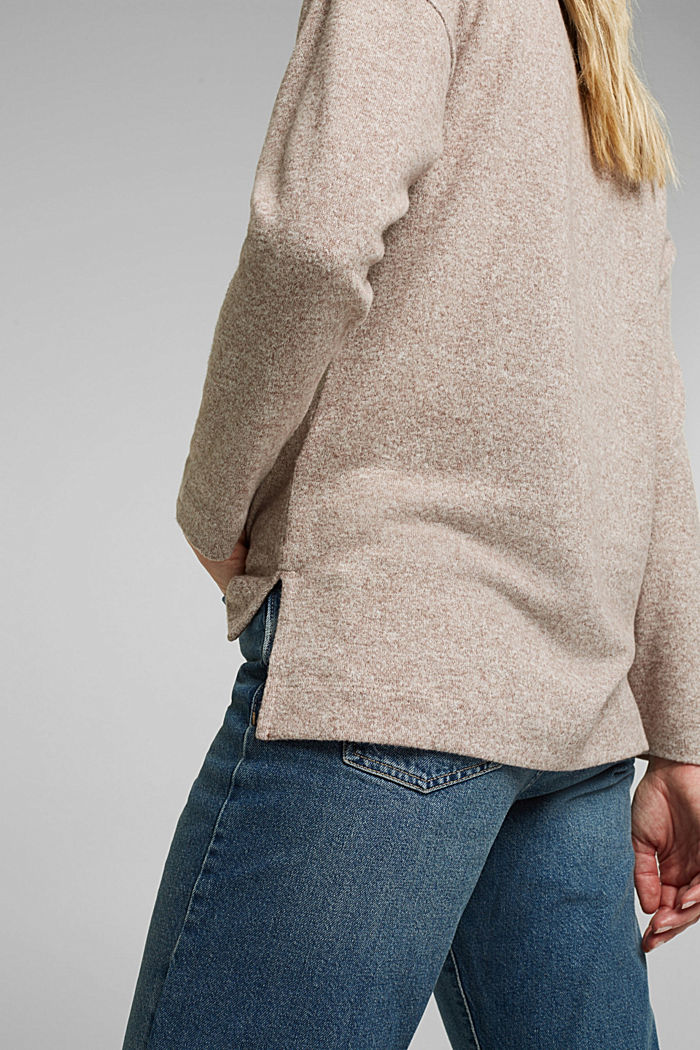 Melange long sleeve top in a knitted look, TOFFEE, detail image number 2