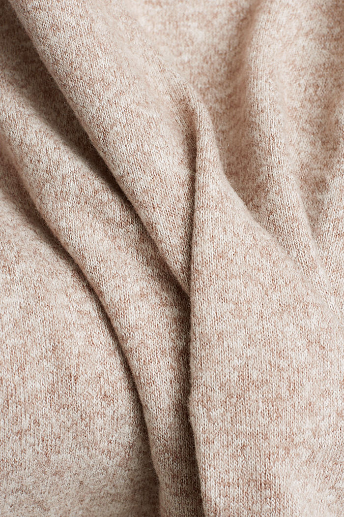Melange long sleeve top in a knitted look, TOFFEE, detail image number 4