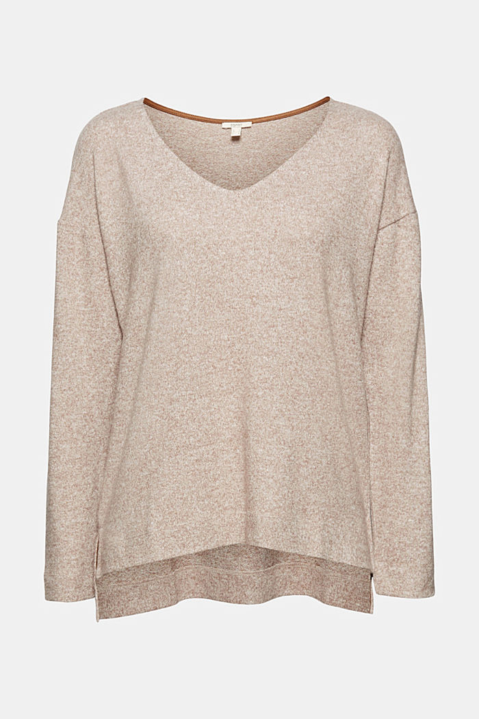 Melange long sleeve top in a knitted look, TOFFEE, detail image number 5