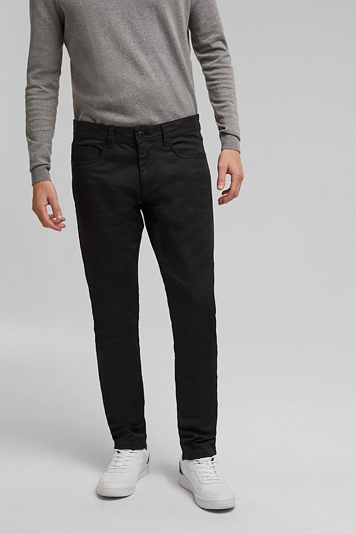 Coated Jeans mit Stretch, BLACK, detail image number 0