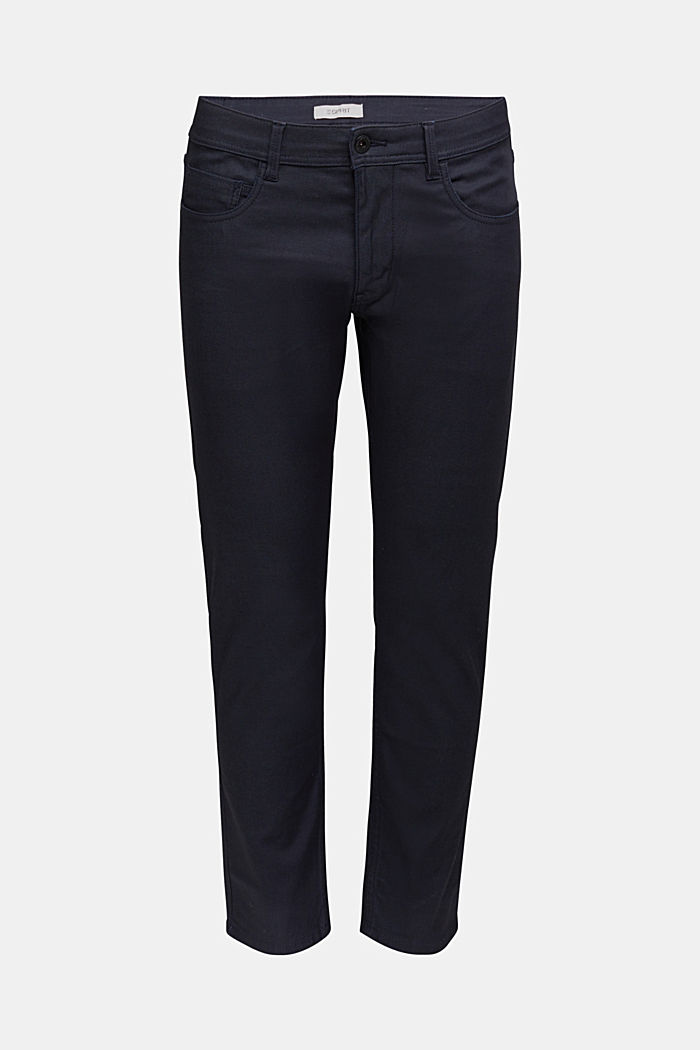 Coated stretch jeans, NAVY, overview
