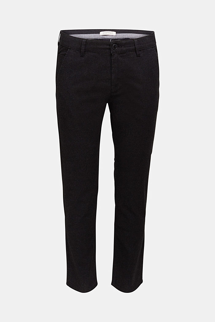 Stretch chinos with organic cotton, ANTHRACITE, overview