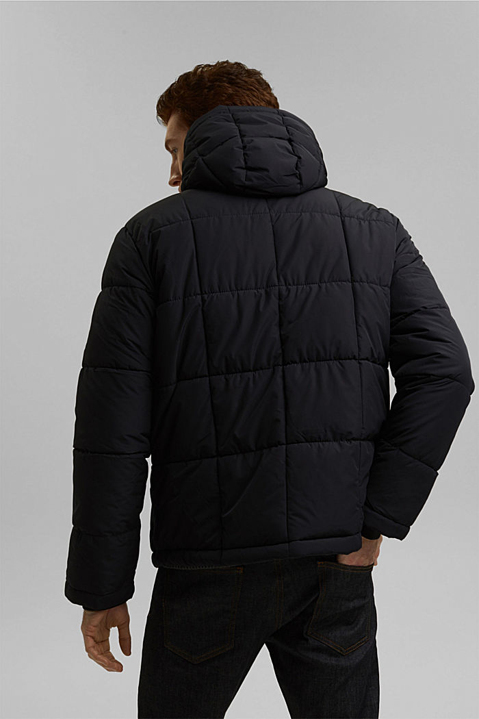 Padded quilted jacket with a hood, BLACK, detail image number 3