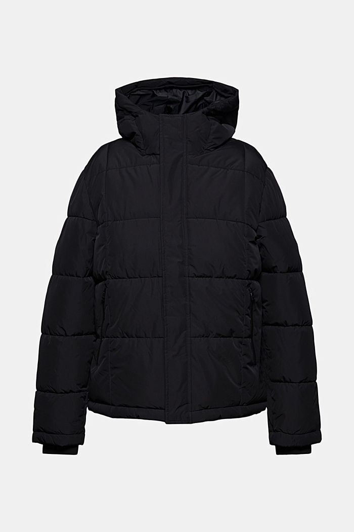 Padded quilted jacket with a hood, BLACK, detail image number 5