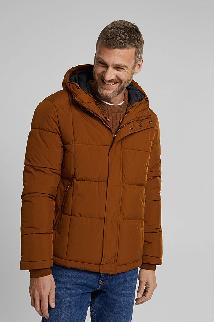 Padded quilted jacket with a hood