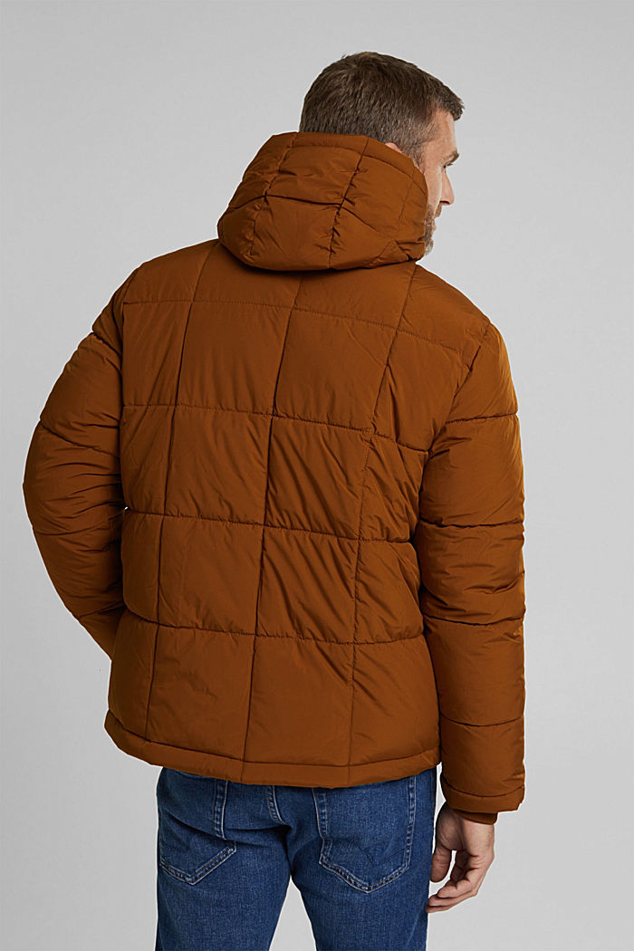 Padded quilted jacket with a hood, TOFFEE, detail image number 3