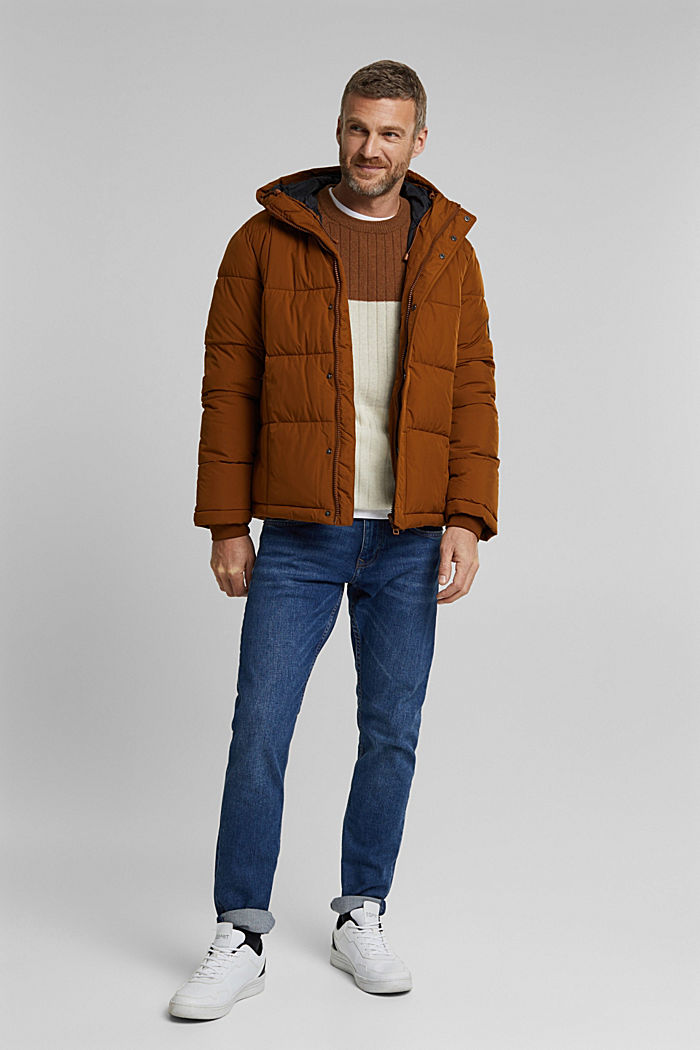 Padded quilted jacket with a hood, TOFFEE, detail image number 1