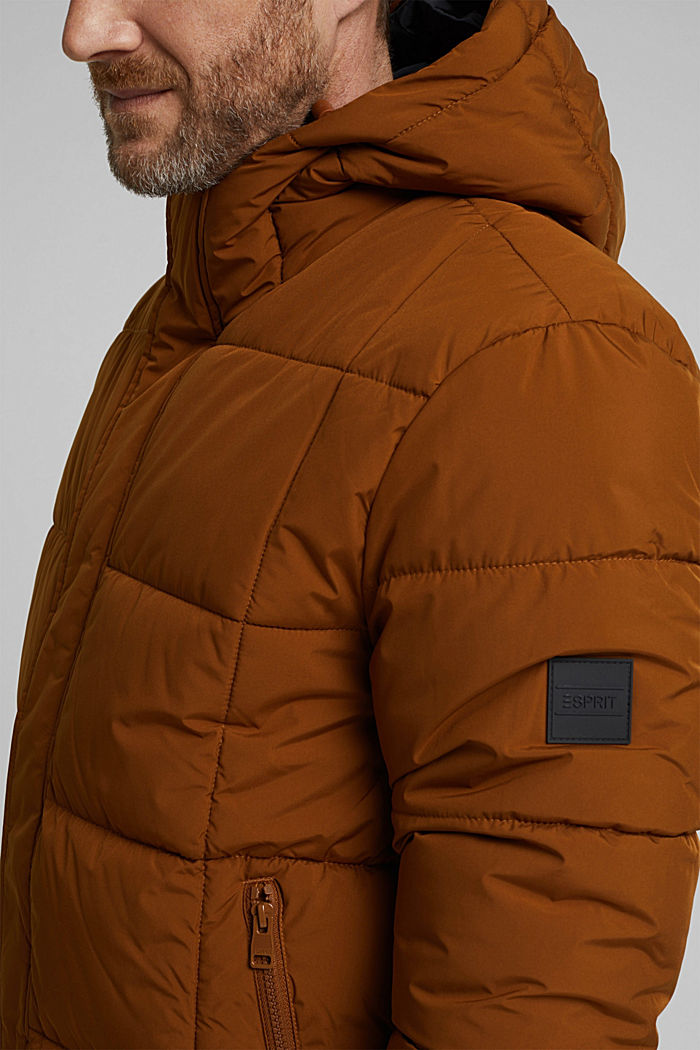 Padded quilted jacket with a hood, TOFFEE, detail image number 2