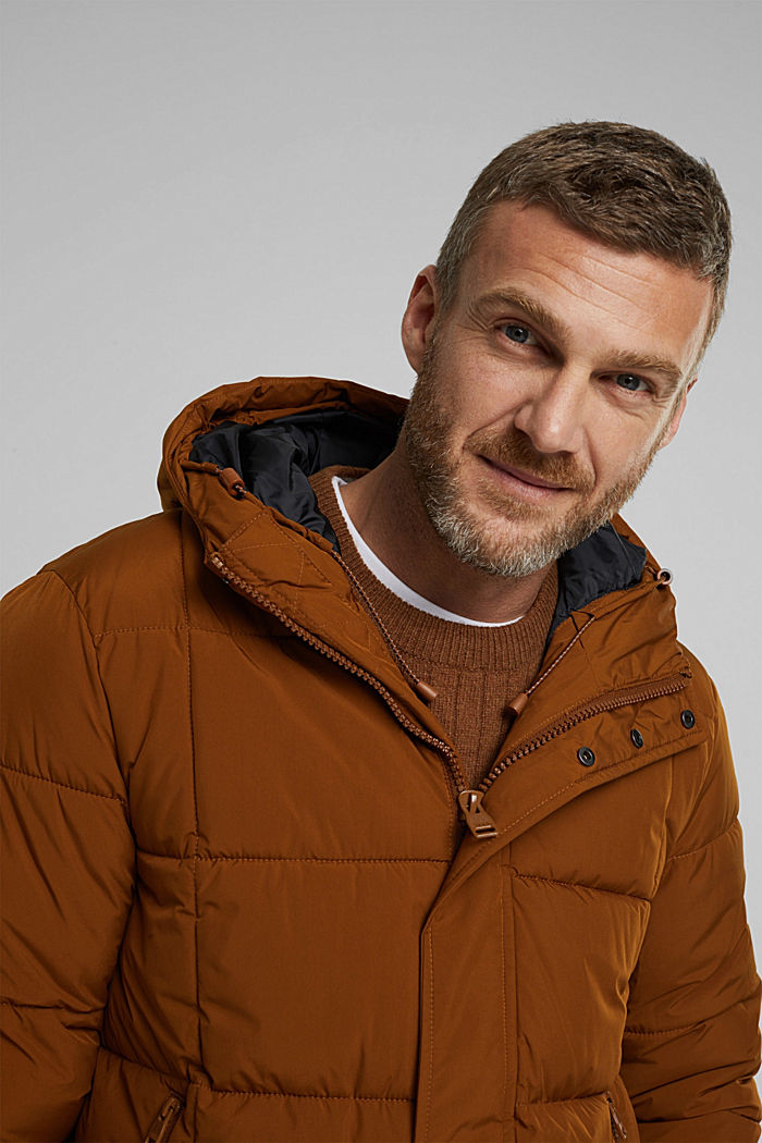 Padded quilted jacket with a hood, TOFFEE, detail image number 5