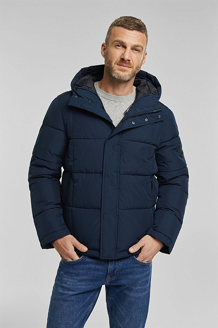 Padded quilted jacket with a hood, DARK BLUE, detail image number 0