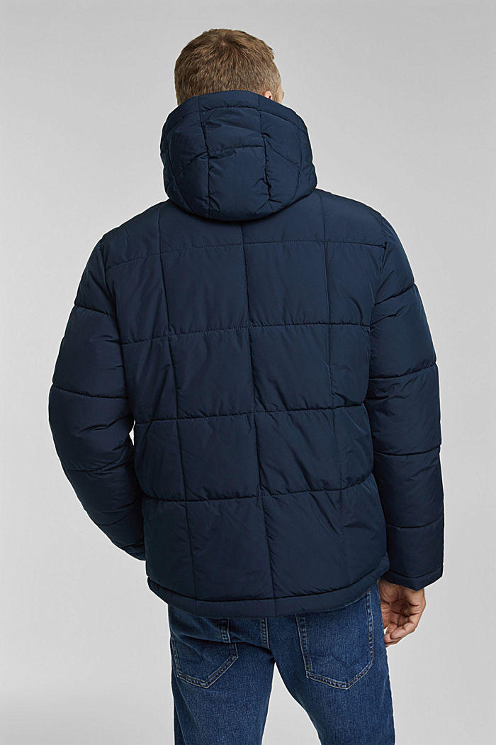 Padded quilted jacket with a hood, DARK BLUE, detail image number 3