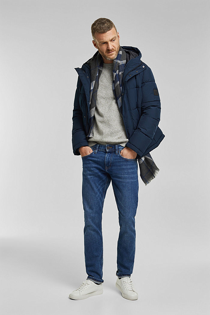 Padded quilted jacket with a hood, DARK BLUE, detail image number 1