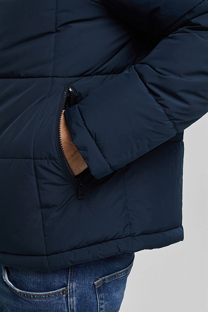 Padded quilted jacket with a hood, DARK BLUE, detail image number 2