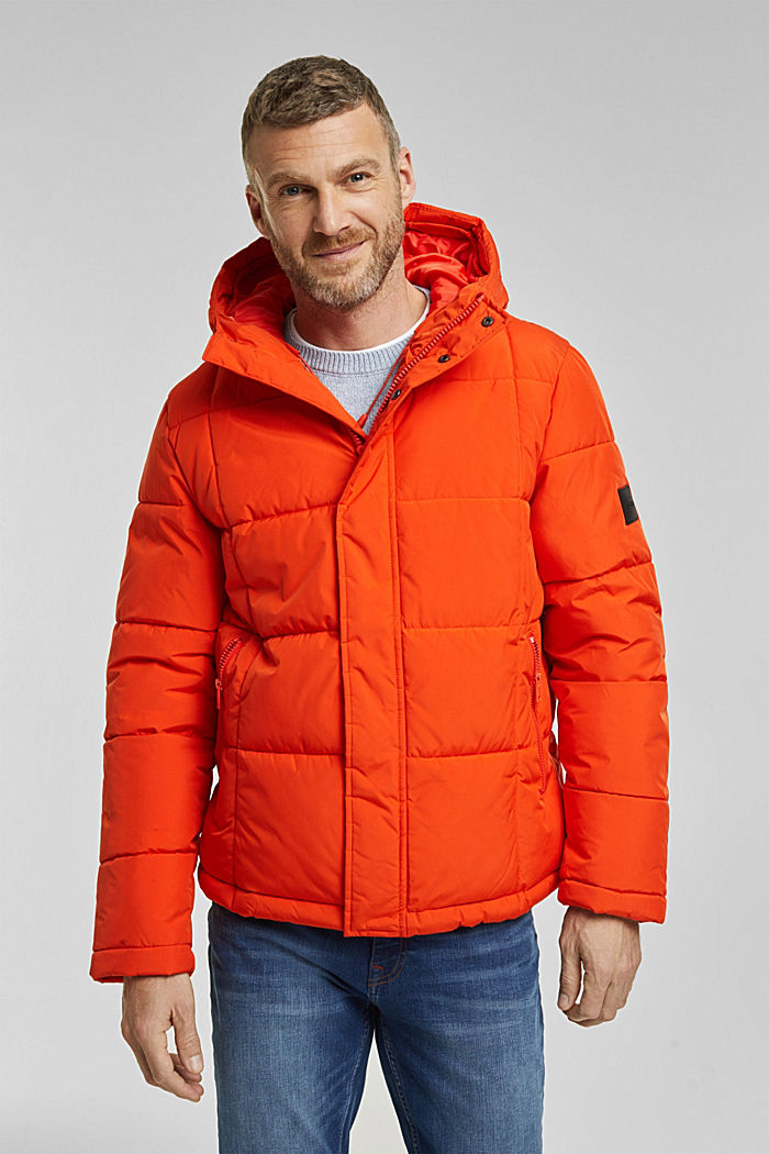 Padded quilted jacket with a hood, ORANGE, detail image number 0