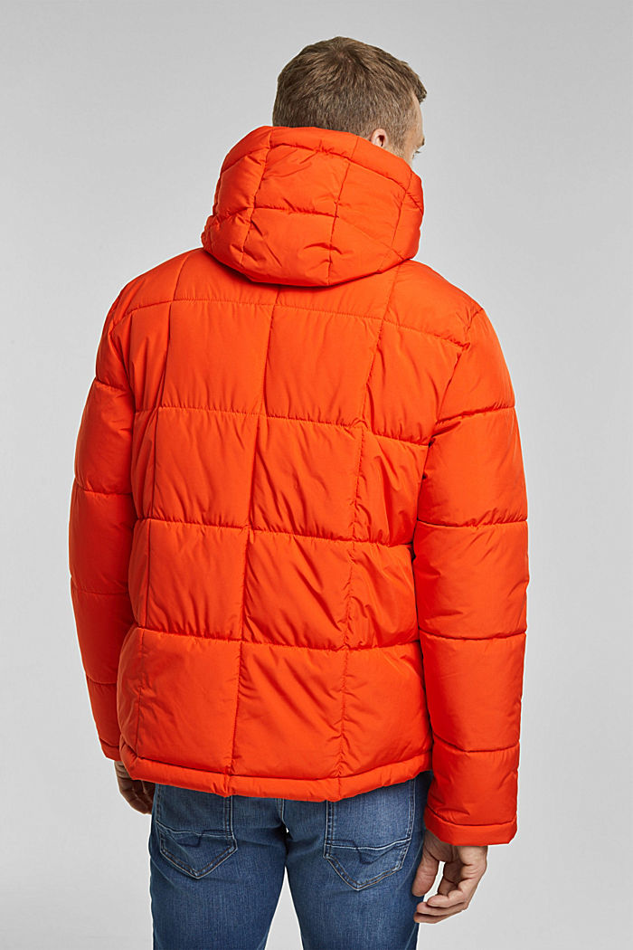 Padded quilted jacket with a hood, ORANGE, detail image number 3
