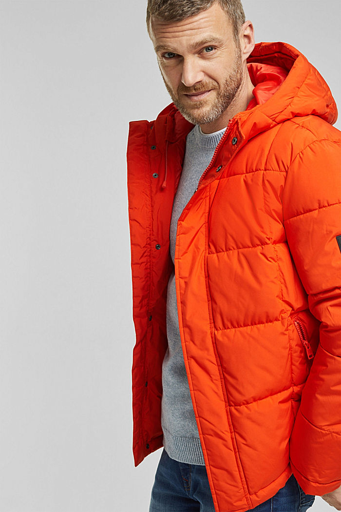 Padded quilted jacket with a hood, ORANGE, detail image number 4