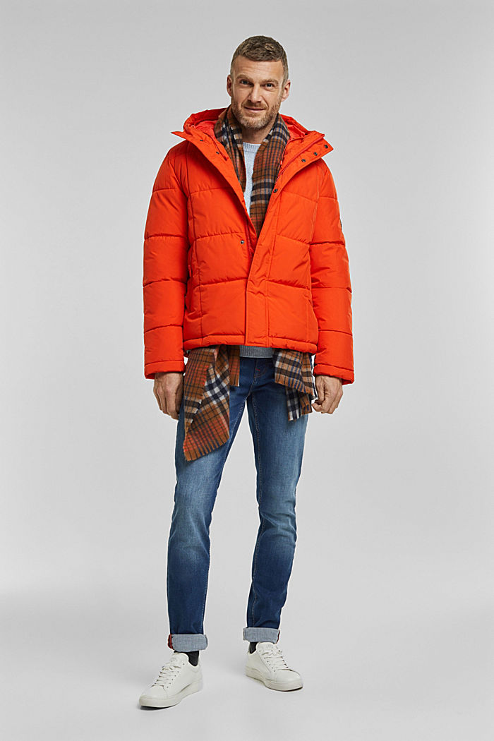 Padded quilted jacket with a hood, ORANGE, detail image number 1