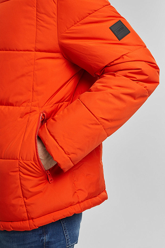 Padded quilted jacket with a hood, ORANGE, detail image number 2