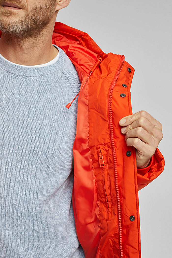 Padded quilted jacket with a hood, ORANGE, detail image number 6