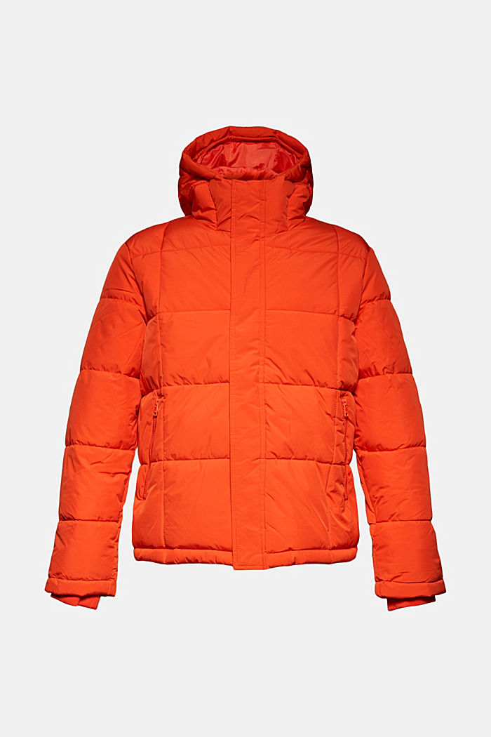 Padded quilted jacket with a hood, ORANGE, overview