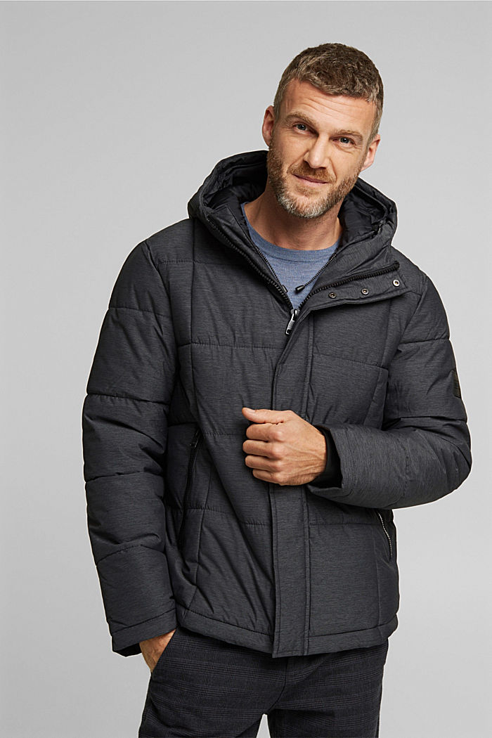 Padded quilted jacket with a melange finish