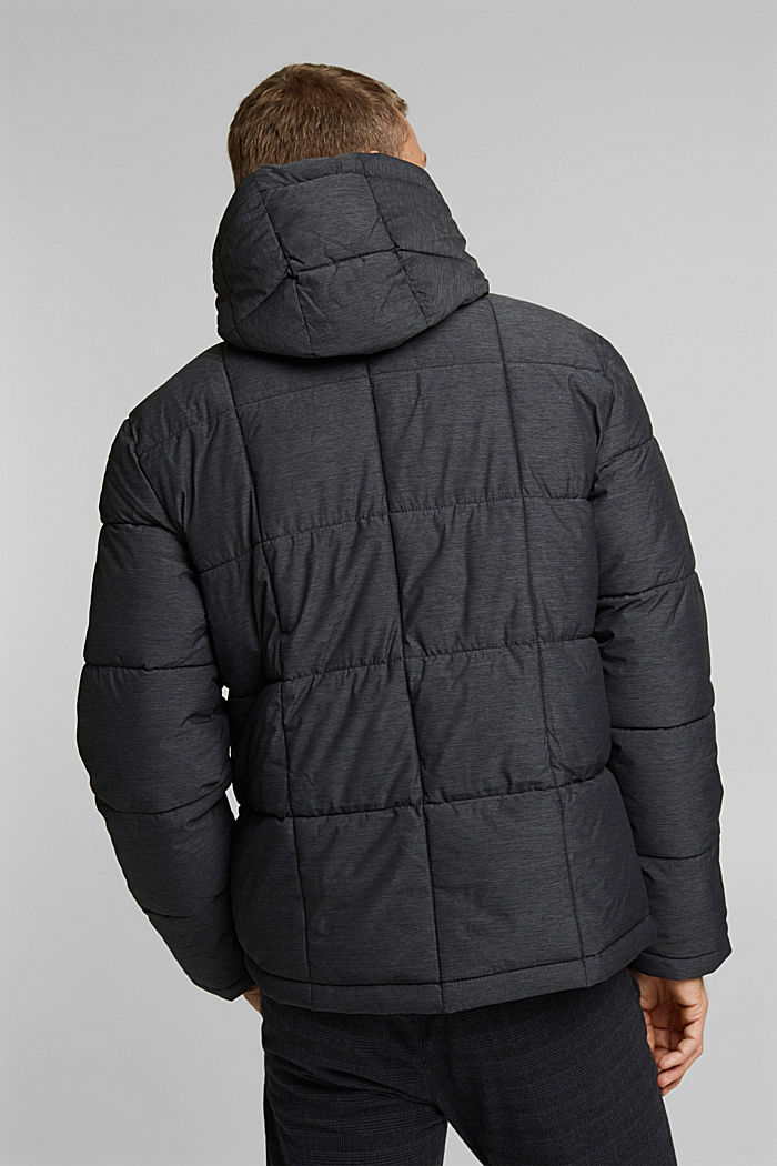 Padded quilted jacket with a melange finish, ANTHRACITE, detail image number 3