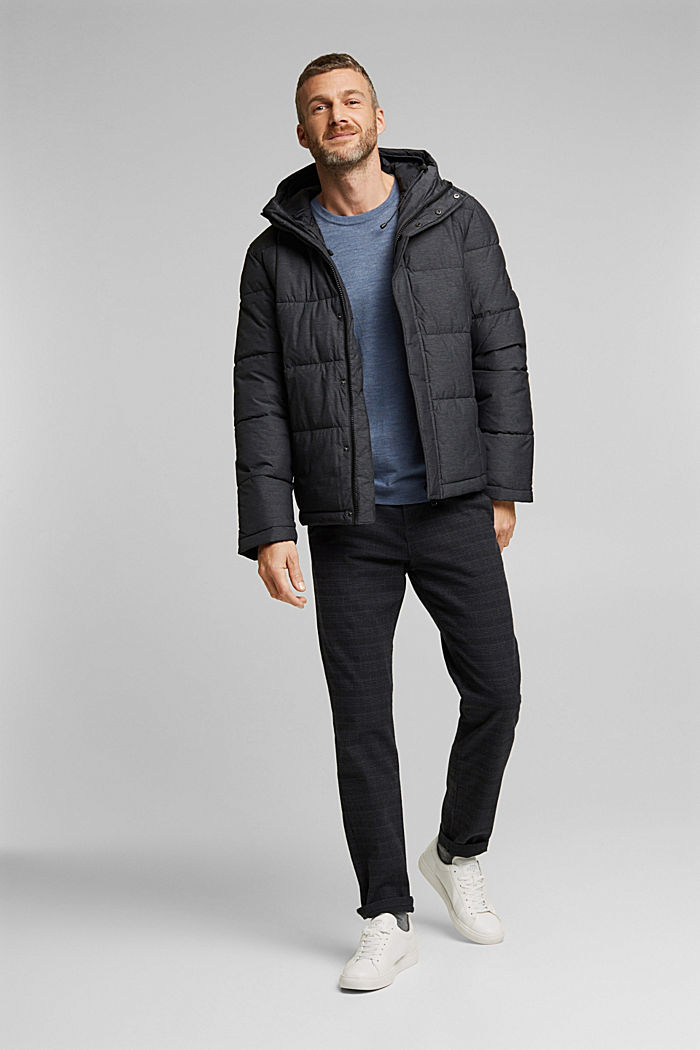 Padded quilted jacket with a melange finish, ANTHRACITE, detail image number 1