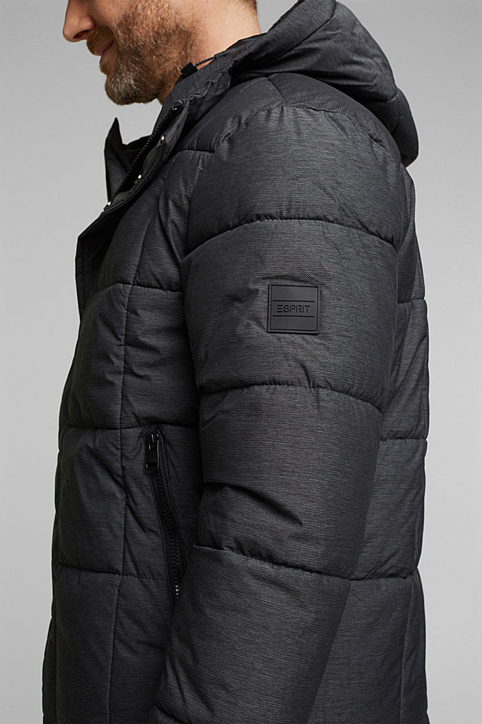 Padded quilted jacket with a melange finish, ANTHRACITE, detail image number 2