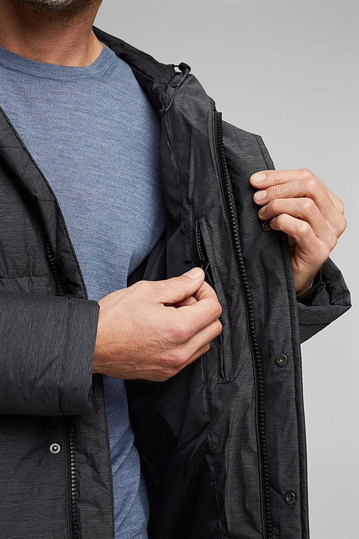Padded quilted jacket with a melange finish, ANTHRACITE, detail image number 5