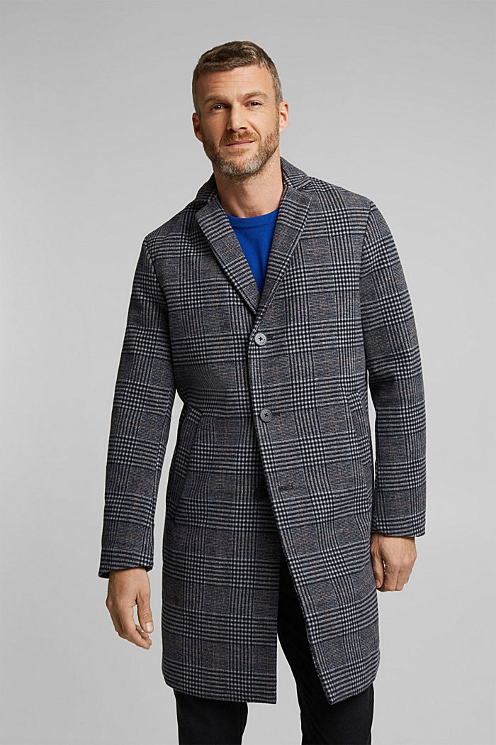 Recycled: blended wool coat with padding, DARK BLUE, detail image number 0