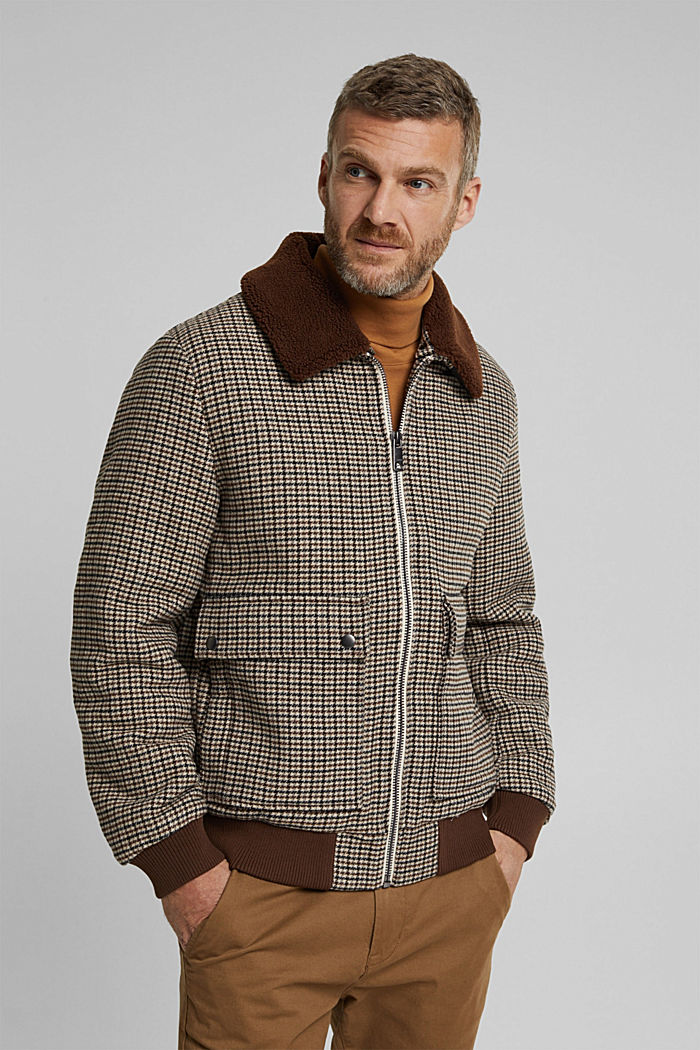 Recycled: houndstooth jacket with wool, CARAMEL, detail image number 0