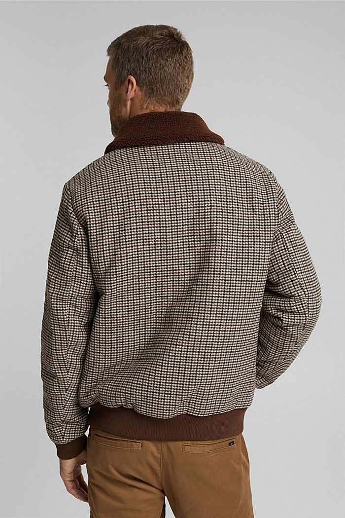 Recycled: houndstooth jacket with wool, CARAMEL, detail image number 3