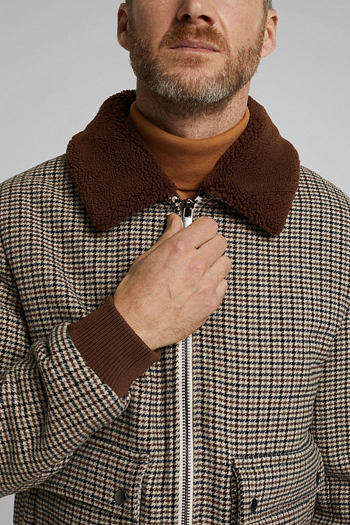Recycled: houndstooth jacket with wool, CARAMEL, detail image number 2